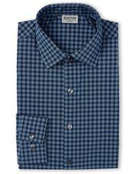 Kenneth Cole Reaction Petrol Blue Gingham Slim Fit Dress Shirt