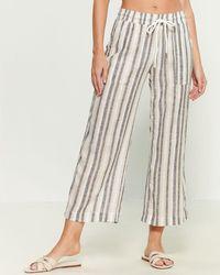 Blue Island Striped Drawstring Swim Cover-up Pants - Natural