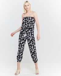 Blue Island - Printed Strapless Jumpsuit Swim Cover-up - Lyst