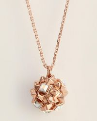 Karl Lagerfeld - Rose Gold-tone Pyramid Cluster Sphere Pendant Necklace - Lyst