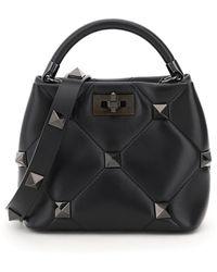 Valentino Garavani Roman Stud Small Top Handle Bag - Black