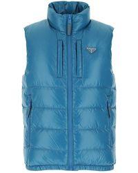 Prada Turquoise Nylon Sleeveless Down Jacket Nd Uomo - Blue