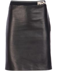 Prada Logo Band Leather Skirt - Black