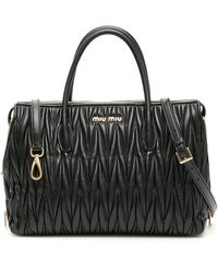Miu Miu Avenue Matelassé Tote Bag - Black