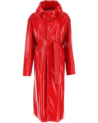 Balenciaga Belted Trench Coat - Red