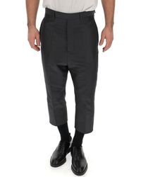 Rick Owens High Waist Cropped Trousers - Black