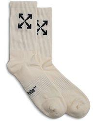 Off-White c/o Virgil Abloh Arrow White Cotton Socks - Multicolour