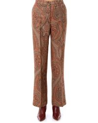 Etro Flared Paisley Print Trousers - Brown