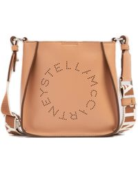 Stella McCartney Logo Perforated Small Hobo Bag - Natural