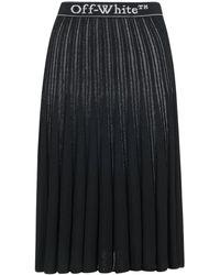 Off-White c/o Virgil Abloh Logo Band Pleated Midi Skirt - Black