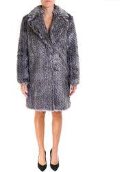 Michael Kors Faux Fur Coat - Metallic