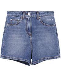 MSGM Rear Logo Print Denim Shorts - Blue