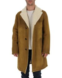 Prada Shearling Trimmed Single Breasted Coat - Brown
