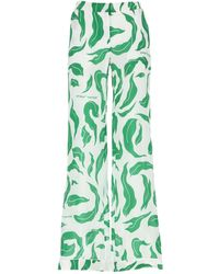 Off-White c/o Virgil Abloh Leaves Detail Palazzo Trousers - Green