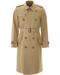 Burberry Double Breasted Trench Coat - Natural