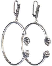 Alexander McQueen Embellished Skull Hoop Earrings - Metallic