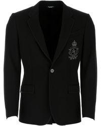 Dolce & Gabbana Logo Embroidered Blazer - Black
