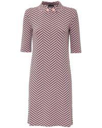 Emporio Armani Herringbone Print Short-sleeved Dress - Purple