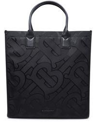 Burberry Logo Detailed Tb Monogram Tote Bag - Black