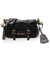 Miu Miu Foldover Logo Crossbody Bag - Black