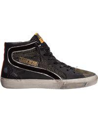 Golden Goose Deluxe Brand Men's Shoes High Top Leather Sneakers Sneakers Slide - Black