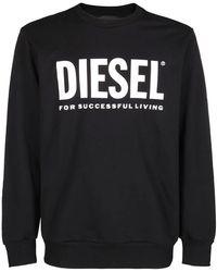 DIESEL S-gir-division Logo Printed Sweatshirt - Black