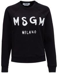 MSGM Paint Brushed Logo Sweatshirt - Black