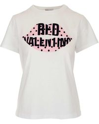 RED Valentino Redvalentino Lips Printed T-shirt - White