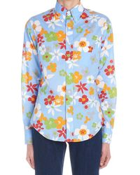 Prada Floral Print Cotton Shirt - Blue