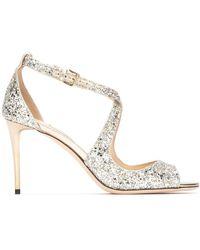 Jimmy Choo Emily 85 Glitter Sandals - Metallic