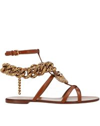 Dolce & Gabbana Devotion Heart And Chain Leather Sandals - Brown