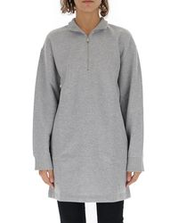 Paco Rabanne Logo Embroidered Half-zip Front Sweater - Gray