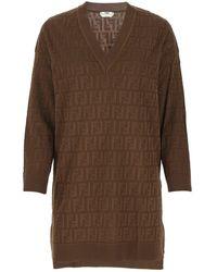 Fendi Ff Sweater Dress - Brown
