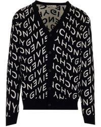 Givenchy Refracted Logo Jacquard Cardigan - Black