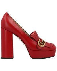 Gucci GG Platform Fringe Pumps - Red