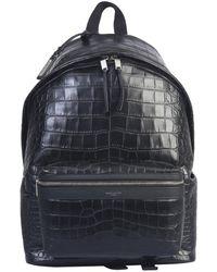 Saint Laurent City Embossed Backpack - Black