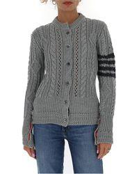 Thom Browne 4-bar Stripe Cable-knit Cardigan - Grey
