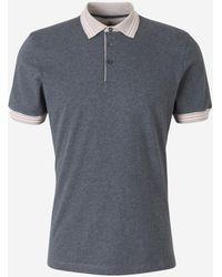 Brunello Cucinelli Stripe Detail Polo Shirt - Grey