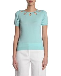 Boutique Moschino Cut-out Neckline Top - Blue