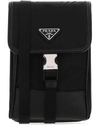 Prada Logo Plaque Lanyard Phone Case - Black