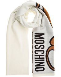 Moschino Teddy Intarsia Scarf - White