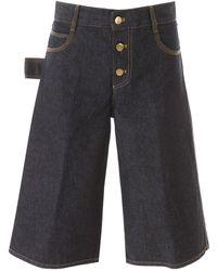Bottega Veneta Knee-length Denim Shorts - Blue