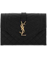 Saint Laurent Black Leather Envelope Wallet Nd