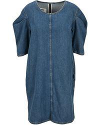 MM6 by Maison Martin Margiela Puff Sleeves Denim Dress - Blue