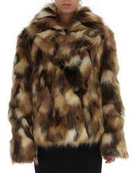 Saint Laurent Collared Fur Coat - Brown