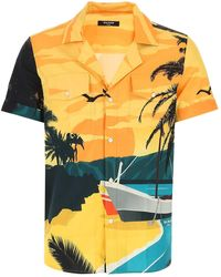 Balmain Beach Print Short-sleeve Shirt - Yellow