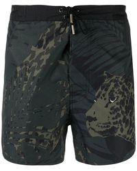Saint Laurent Leopard Printed Swim Shorts - Multicolor