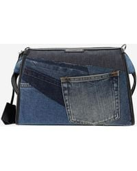Dolce & Gabbana Edge Patchwork Denim Crossbody Bag - Blue
