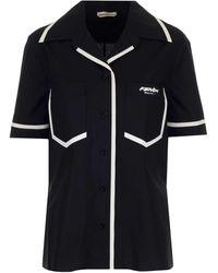 Fendi X Joshua Vides Logo Bowling Shirt - Black