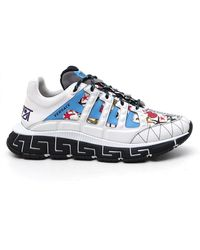 Versace Contrasting Panelled Trainers - Blue